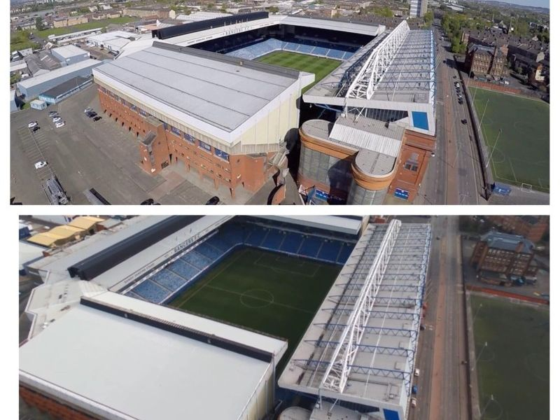 Ibrox Roof Before And After